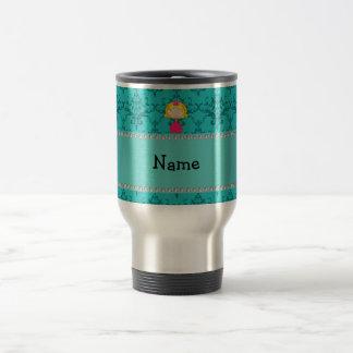 Personalized name princess turquoise damask mugs