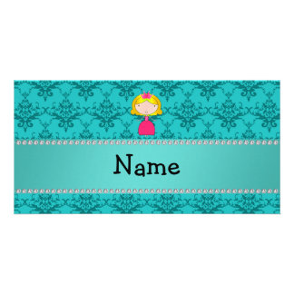 Personalized name princess turquoise damask photo cards