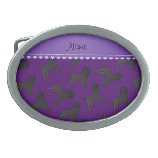 Personalized name purple affenpinscher dogs oval belt buckles