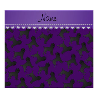 Personalized name purple affenpinscher dogs poster