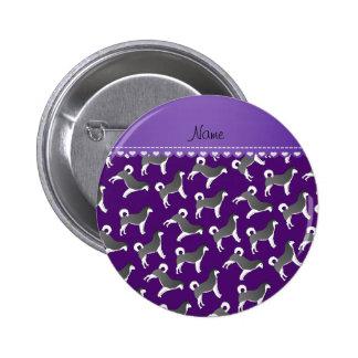 Personalized name purple alaskan malamute dogs 2 inch round button
