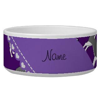 Personalized name purple alaskan malamute dogs dog water bowls