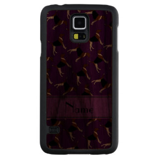 Personalized name purple american foxhound dogs carved® walnut galaxy s5 case