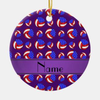 Personalized name purple american volleyballs ceramic ornament