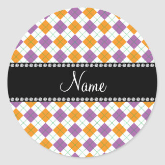 Personalized name Purple and orange argyle Round Stickers
