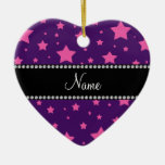 Personalized name Purple and Pink stars Christmas Tree Ornaments