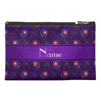 Personalized name purple archery travel accessory bags