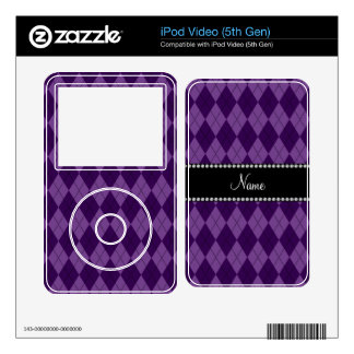 Personalized name Purple argyle pattern Decals For iPod Video