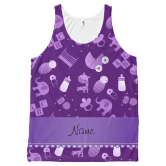 Personalized name purple baby animals All-Over print tank top