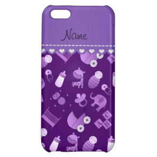 Personalized name purple baby animals cover for iPhone 5C