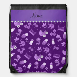Personalized name purple baby animals drawstring bag