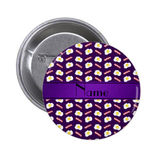 Personalized name purple bacon eggs button