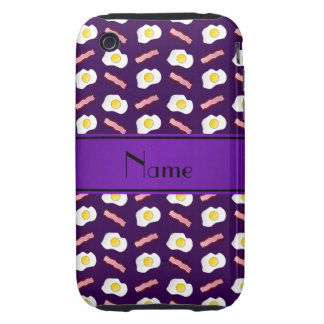 Personalized name purple bacon eggs iPhone 3 tough cases