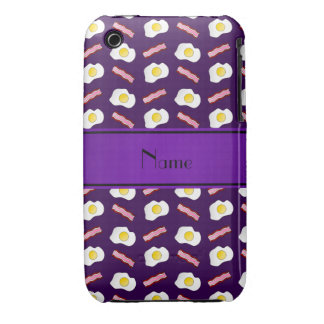 Personalized name purple bacon eggs iPhone 3 covers