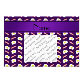 Personalized name purple bacon eggs photograph