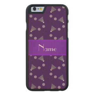 Personalized name purple badminton carved® maple iPhone 6 slim case