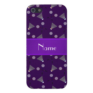 Personalized name purple badminton pattern cover for iPhone 5/5S