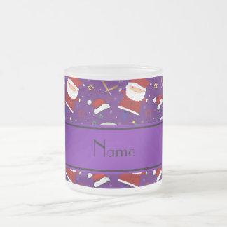 Personalized name purple baseball christmas 10 oz frosted glass coffee mug