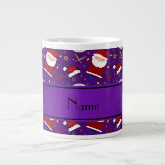Personalized name purple baseball christmas 20 oz large ceramic coffee mug