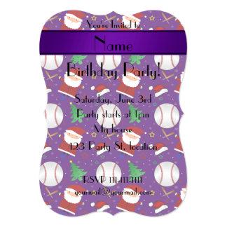 Personalized name purple baseball christmas 5x7 paper invitation card