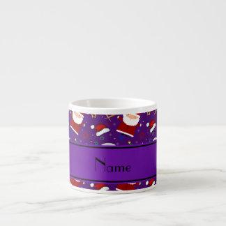 Personalized name purple baseball christmas 6 oz ceramic espresso cup