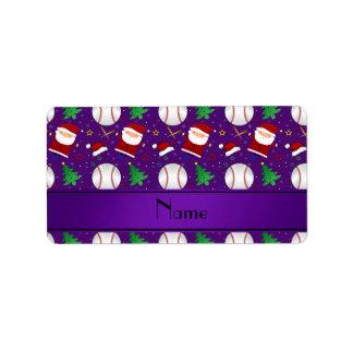 Personalized name purple baseball christmas address label
