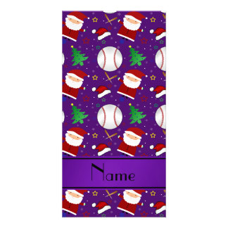 Personalized name purple baseball christmas card