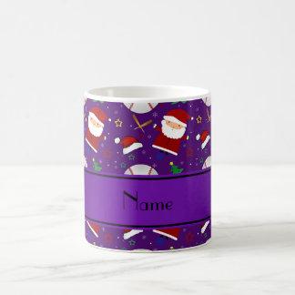 Personalized name purple baseball christmas classic white coffee mug