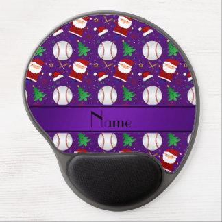 Personalized name purple baseball christmas gel mouse pad