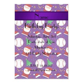 Personalized name purple baseball christmas magnetic invitations