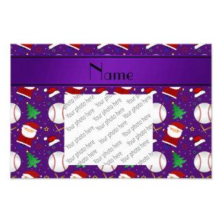Personalized name purple baseball christmas photo print
