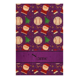 Personalized name purple baseball christmas cork paper prints