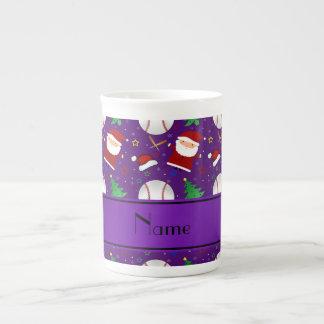 Personalized name purple baseball christmas tea cup