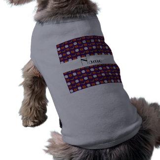 Personalized name purple baseball pattern pet shirt