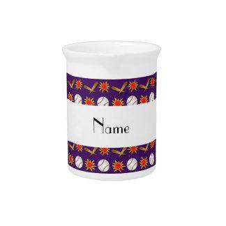 Personalized name purple baseball pattern drink pitcher