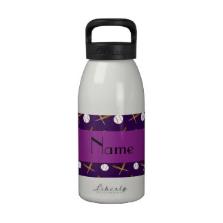 Personalized name purple baseball reusable water bottle