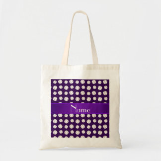 Personalized name purple baseballs pattern tote bags
