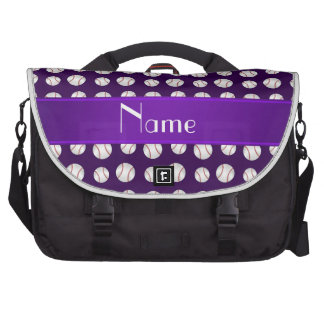 Personalized name purple baseballs pattern bags for laptop