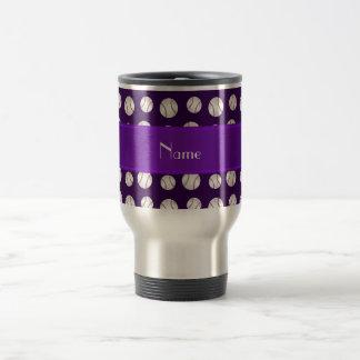 Personalized name purple baseballs pattern mugs