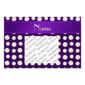 Personalized name purple baseballs pattern photo