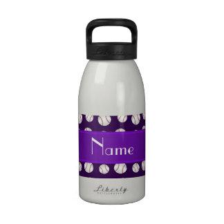 Personalized name purple baseballs pattern reusable water bottles