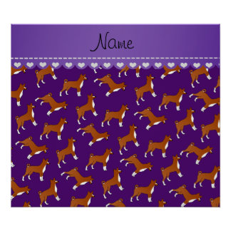 Personalized name purple basenji dogs poster
