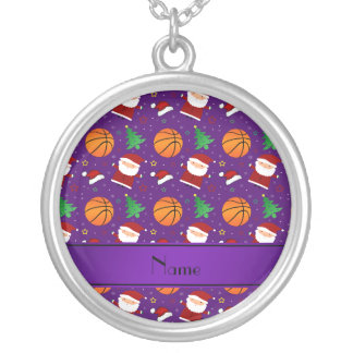 Personalized name purple basketball christmas necklaces