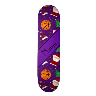 Personalized name purple basketball christmas skate deck