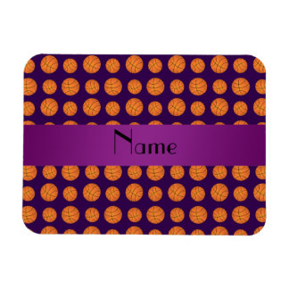 Personalized name purple basketballs magnet