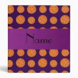 Personalized name purple basketballs vinyl binders