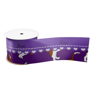 Personalized name purple basset hound dogs satin ribbon