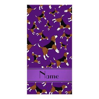 Personalized name purple beagle dog pattern photo card