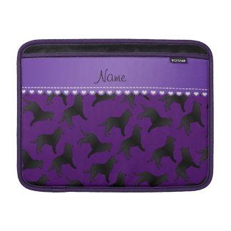 Personalized name purple belgian sheepdog MacBook air sleeve