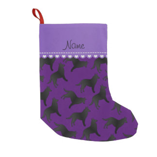 Personalized name purple belgian sheepdog small christmas stocking